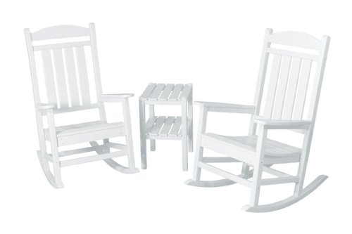 POLYWOOD PWS138-1-WH Presidential 3-Piece Rocker Chair Set, White