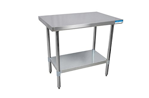 BK Resources 18 - Mesa de acero inoxidable con estante y patas galvanizadas, 36 x 18 Inches