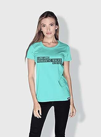 Creo I Like Long Romantic Walks Funny T-Shirts For Women - M, Green