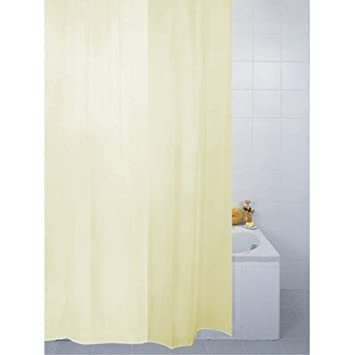 Fabric Bathroom Shower Curtain Plain Cream 180 X 200 Cm Extra Long