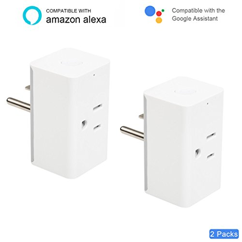 WiFi Smart Plug, Amytalk Mini Wireless Smart Socket of Timer Switch Power, Voice and Smart Control Outlet from Anywhere, Compatible with Amazon Alexa and Google Assistant & Google Home (2 Pack) -  000059_US_2