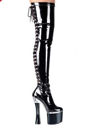 high six super black boots heeled Thirty stage stage 18cm bottom knee qZaUxUn