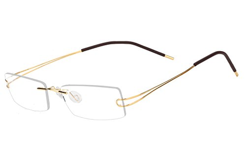 Agstum Pure Titanium Rimless Frame Prescription Hingeless Eyeglasses 52mm (Gold, - Rimless Eyeglass Frames