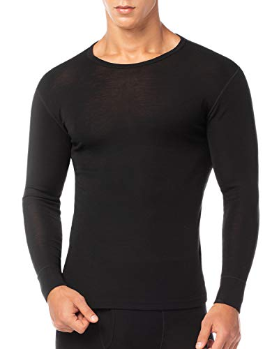 LAPASA Men's 100% Merino Wool Thermal Underwear Top Crew Neck Base Layer Long Sleeve Undershirt M29 (M Chest 38