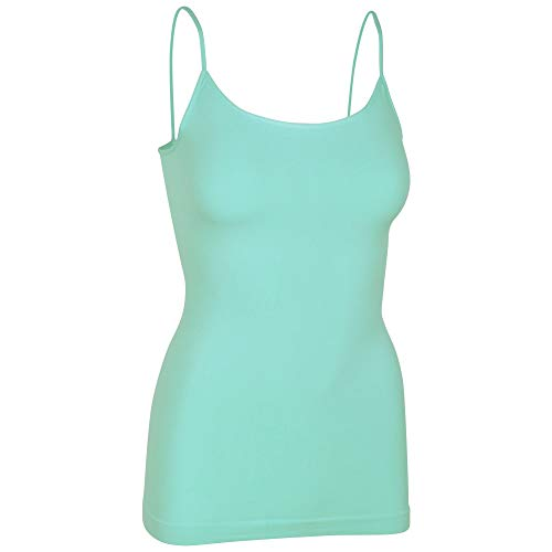 Womens Soft Stretchy Solid Color Essential Spaghetti Strap Long Tank Top Cami Limpet Shell - Spaghetti Strap Shell