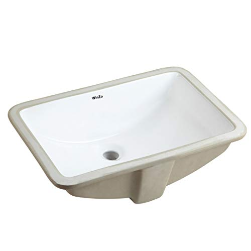 (WinZo WZ7423 Rectangular Bathroom Undermount Sink,21 inch Undercounter Basin for Lavatory Vanity Cabinet Contemporary Style Vitreous China Ceramic White cUPC certificated)