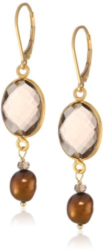 Smokey Quartz Faceted Bezel and Chocolate Baroque Freshwater Cultured Pearl Drop Earrings