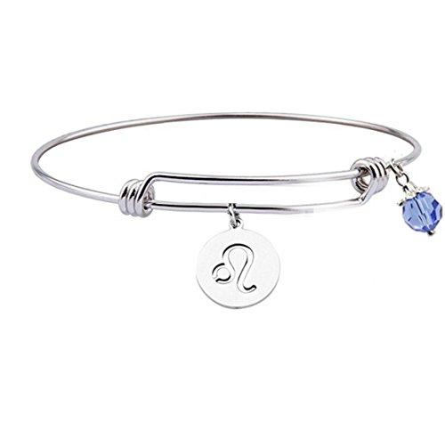 Personalized Constellation Bracelet,Stainless Steel12 Zodiac Sign Bracelet ,Birthday Bracelet (Leo)