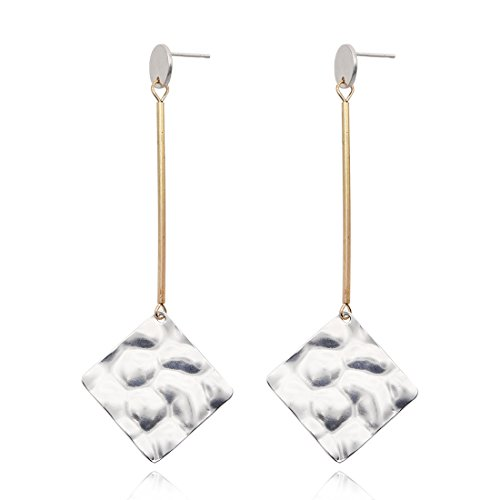 Diamond Pendant Dangle Earrings Created Geometric Shaped Drop Earrings