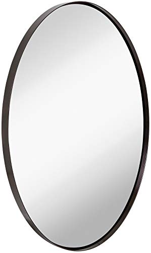 Hamilton Hills Contemporary Brushed Metal Wall Mirror | Oval Black Framed Rounded -