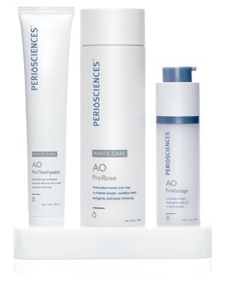 PerioSciences Antioxidant Oral Care System White Care 3-Product Kit: 30ml Dental Gel, 3oz Toothpaste, 10oz Rinse