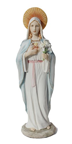 Immaculate Heart Statue - The Immaculate Heart of Mary Statue Figurine Polystone10.75 Inch Height