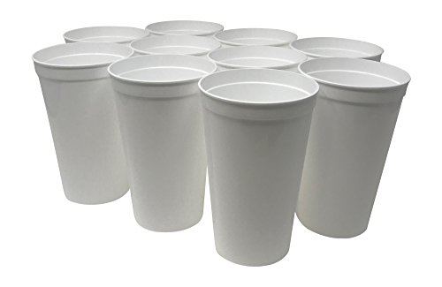 CSBD 10 Pack Blank 22 oz Plastic Stadium Cups Bulk - Made In USA, Reusable or Disposable, Great For Customization, Monograms, Marketing, DIY Projects, Weddings, Parties, Events (10, White)