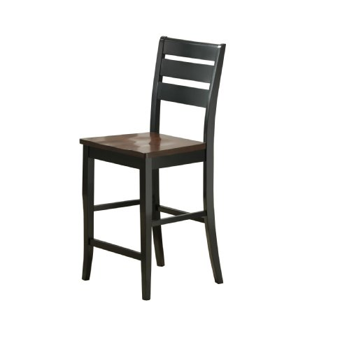 (Bernards Ridgewood Barstool, Black with Mahogany Finish, Set of 2)
