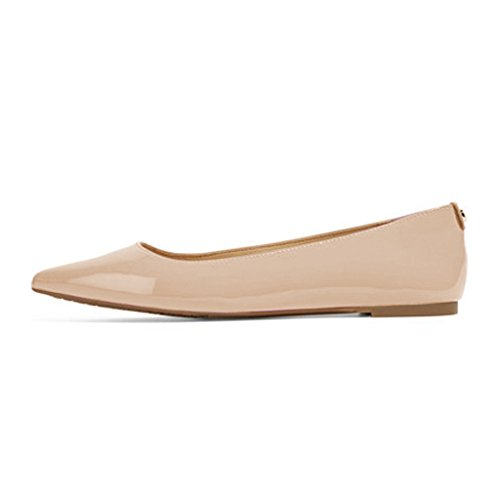 XYD Women Casual Pointed Toe Flats Slip On Patent Leather Ballet Driving Loafer Dress Shoes Nude