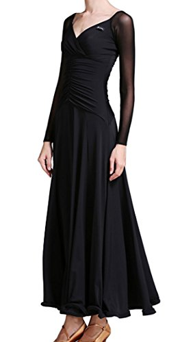 dress CHAGME Ballroom collar Black dress dress dance V Dress Modern Waltz skirt National r7rCYPqw