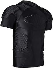 6-pad Padded Compression Shirt, Football Soccer Goalies Shirt Rib Chest Protector for Paintball Baseball
