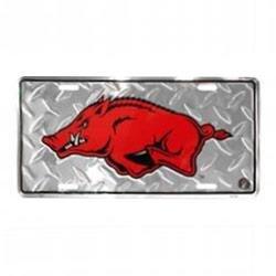 Ncaa Arkansas Razorbacks Diamond Plate - Diamond Plated Arkansas Razorback License Plate