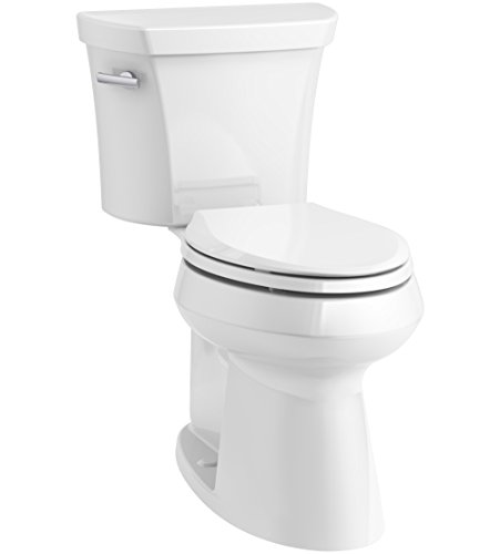 KOHLER K-76301-0 Highline Concealed Trapway Comfort Height Two-Piece Elongated 1.28 GPF Toilet with Class Five Flush Technology and Left-Hand Trip Lever, White,