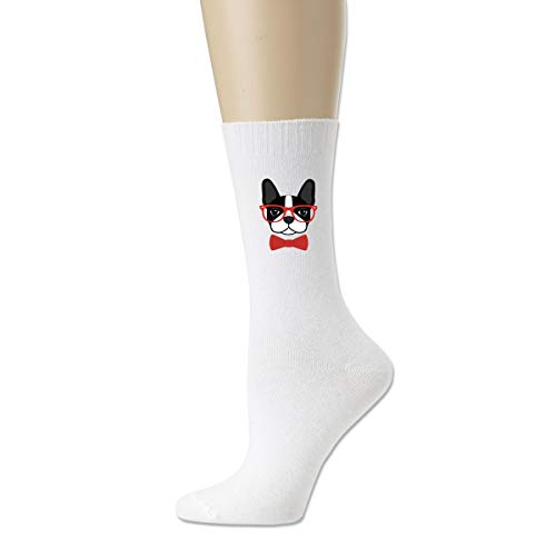 Men's Cotton Outdoor Crew Socks Boston Terrier With Glasses Fashion Novelty Dress Socks]()