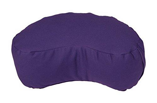 - Bean Products Purple - Crescent Zafu Meditation Cushion - Yoga - 10oz Cotton - Organic Buckwheat Fill - Made in USA
