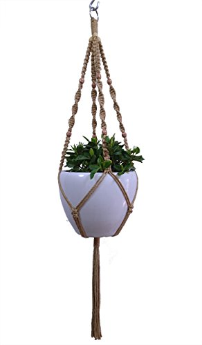- HANPO Macrame Plant Hanger Hanging Planter 4 Legs Natural Hemp Rope Plant Hanger & Plant Holder with Wood Bead Decoration and Metal Ring for Square or Round Plant Pot 10 inch (1)