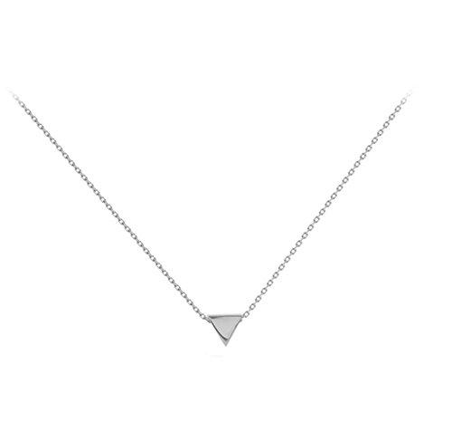 Amkaka Minimalist 925 Sterling Silver Tiny Geometric Triangle Necklace for Women