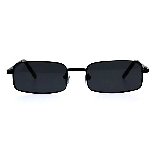 Mens Retro Vintage Narrow Rectangular Pimp Metal Sunglasses All Black (Narrow Sunglasses For Men)