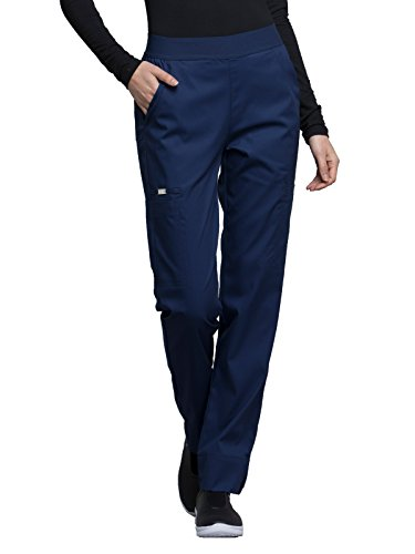 (Cherokee Luxe CK040 Contemporary Fit Natural Rise Tapered Leg Pant Navy L Petite)