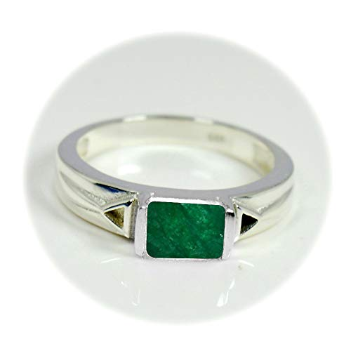 Emerald Sterling Silver Mens Bands - 55Carat Choose Your Color Natural Gemstone Sterling Silver Statement Ring Band Handmade Jewelry Size 5-12