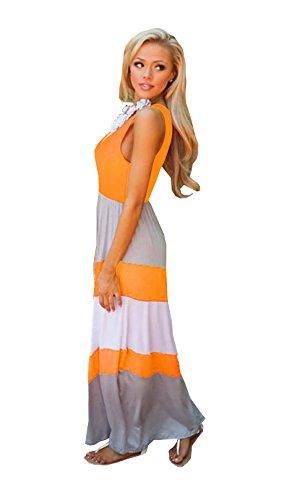 A Color Summer Casual Sleeveless 11 line Dress Striped S Beach Long DAYSOFT Cotton Maxi Women qExaTOwg
