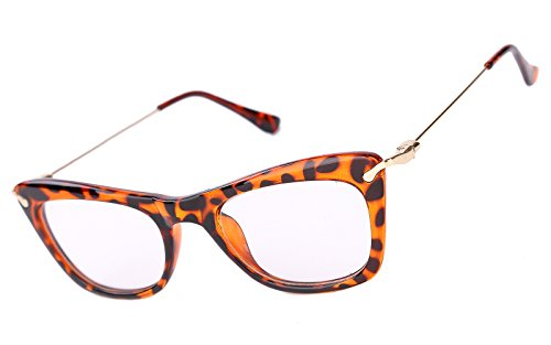 Beison Womens Cat Eye Glasses Frame With Metal Arms Clear Lens (Tortoise shell, - Spectacles Tortoise Shell