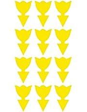 Gele dubbelzijdige kleverige vliegenval voor planten, insectenplanten, 12 stuks, bloemenvorm, vliegenval voor insecten tegen schimmel, muggen, witvliegen, bladluizen, bladluizen en bladminer