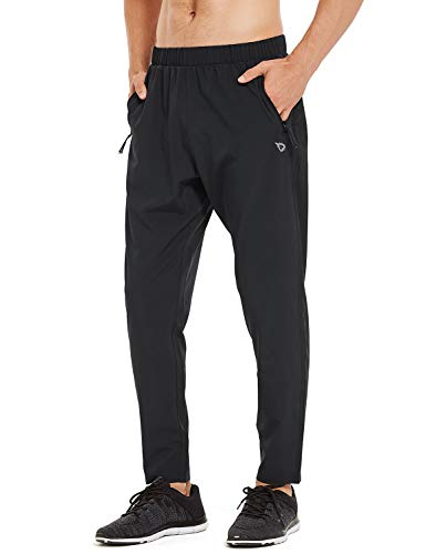 Baleaf Men's Woven Running Pants Tapered Lightweight Joggers Sun Protection UPF 50+ Zipper Pockets Black Size S (Best Running Pants With Pockets)