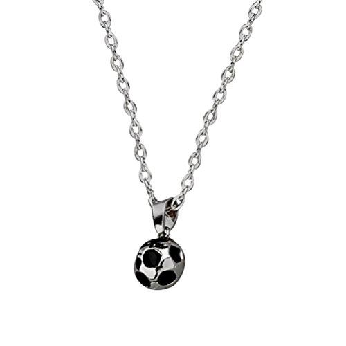 TOYMYTOY Football Collier Pendentif Bijoux Cadeau pour Hommes Femmes (Argent)