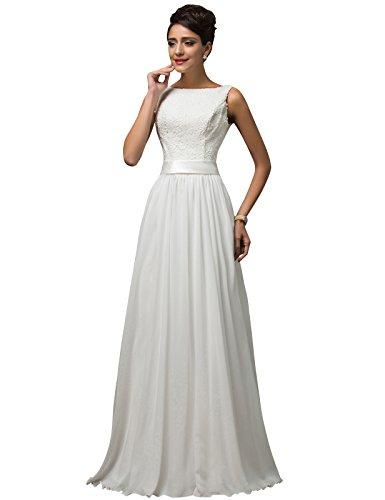 GRACE KARIN Vestido de Novia Blanco Largo Elegante para Mujer de Fiesta para Boda Ceremonia Maxi Blanco