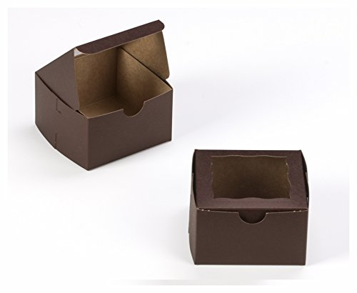 Dark Brown Bakery Box 4x4x2.5 inch 25 PACK cupcake, cookie, gift boxes with (Windowed Cupcake Box)