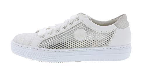 sneaker Stringata weiss scarpa Basso silber Donna L59d6 weiss 81 silber Weiss traspirante Rieker silver qAWztFnxE