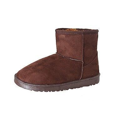 RTRY Zapatos De Mujer Otoño Invierno De Cuero De Nubuck Forro Pelusas Comfort Novedad Botas De Nieve Botas De Moda Botas De Tacón Plano Ronda Toe Botines/Tobillo. US6 / EU36 / UK4 / CN36