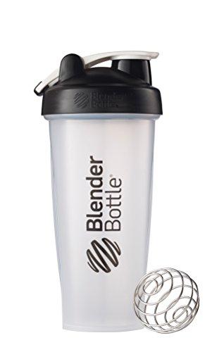 BlenderBottle classique boucle supérieure Shaker Bouteille, Transparent Noir, 28 once