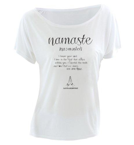 "Natural Born Yogi - Camiseta de manga corta de yoga para mujer, diseño de texto ""namaste"", color blanco blanco - blanco"