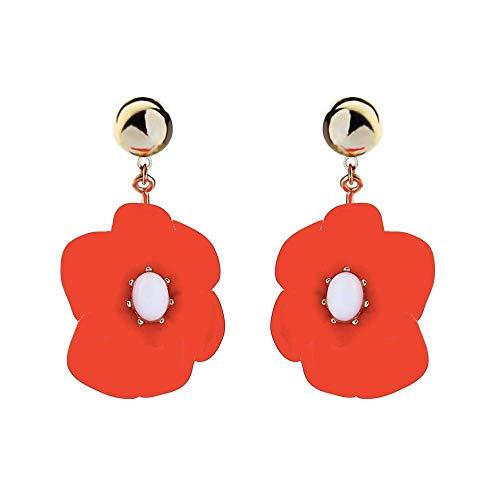 ALMAATA Jewelry Mottled Acrylic Lightweight Statement Dangle Drop Stud Earrings Resin Bohemian Fashion Earrings for Girls Women (Red Poppy) ()