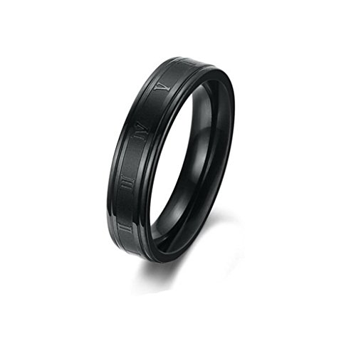 MoAndy Jewelry Stainless Steel Roman Digital Women's Wedding Rings,Black,US Size 8 from MoAndy