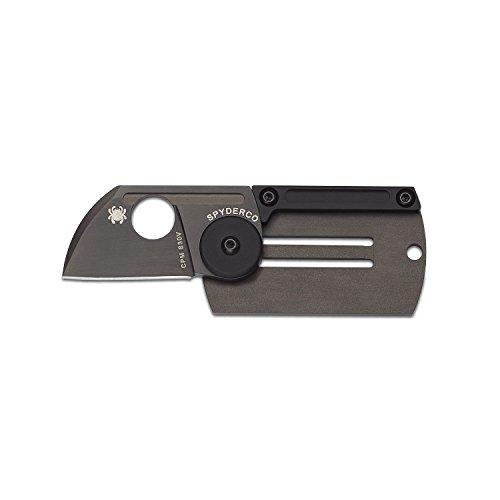 Spyderco C188ALTIBBKP Dog Tag Folding Knife, Black, - Tag Titanium Sports