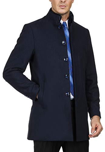 PAUL JONES Men's Reamovable Fur Collar Jackets Wool Blend Pea Coat Size M Navy ()