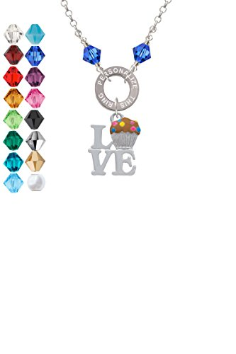 Love with Chocolate Cupcake Custom Engraved Name Ring Crystal Necklace