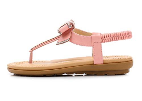 Bout d'été Femmes Bowknot Plage Sandales Ouvert à Classique JDS® Sandales Strass de Rose Design Fortuning's SEnq7zx