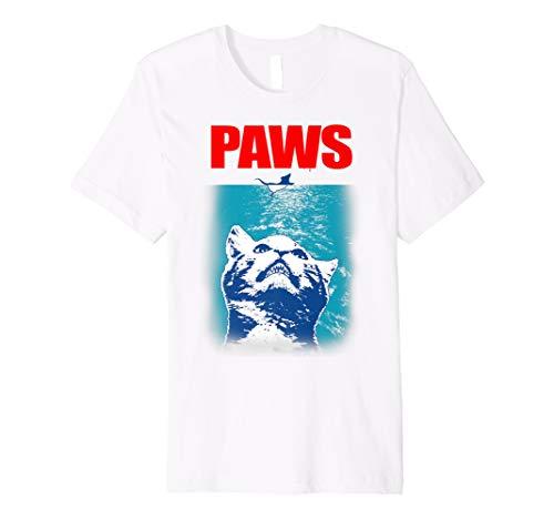 Funny Tee Paws Parody Tees for Cat Kitten Shark & Cat Lovers Premium T-Shirt (Kitty Jaws Shirt)