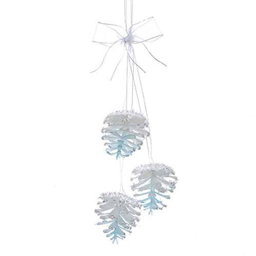 Kurt Adler ICY BLUE PINECONE CLUSTER WITH SHEER WHITE RIBBON BOW ORNAMENT (Cluster Bow)