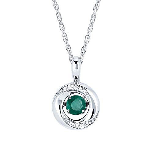 Birthstone May Green Pendant - Brilliance in Motion 925 Sterling Silver 1/5 Carat Dancing Emerald May Birthstone Knot Pendant Necklace with 18